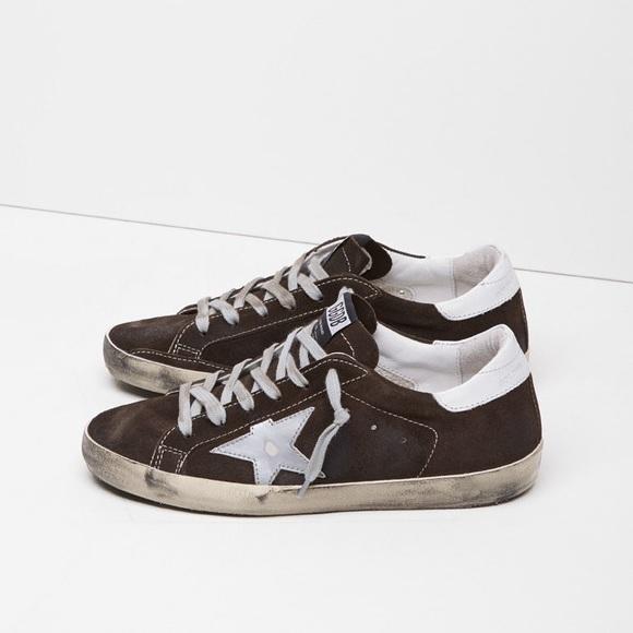 Brown suede Golden Goose Superstar lowtop sneakers